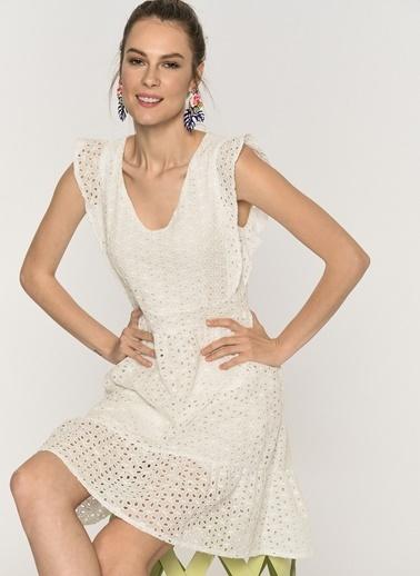 Loves You Astarlı Kolsuz Güpür Elbise Beyaz
